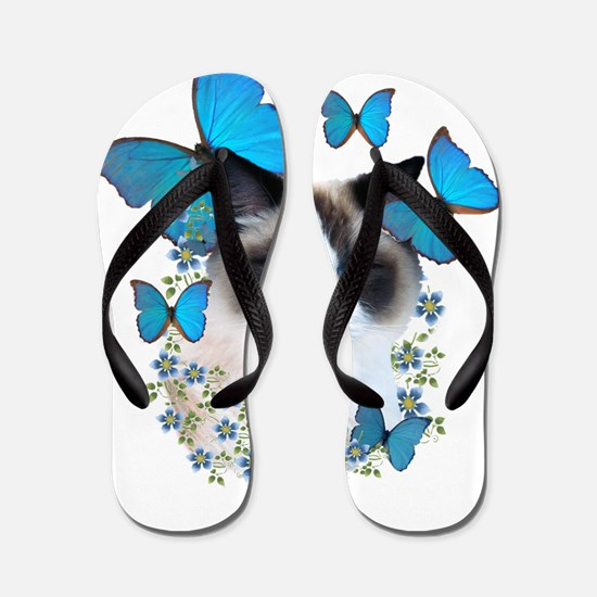 Ragdoll blue butterflies Flip Flops
