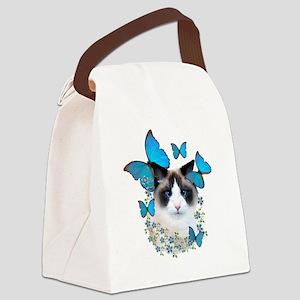 Ragdoll blue butterflies Canvas Lunch Bag