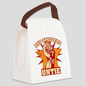 Bad Spellers Untie blk Canvas Lunch Bag