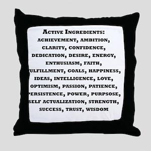 Active Ingredients Black Text Throw Pillow