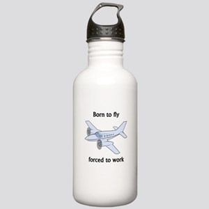 Born To Fly Forced To Work Sports Water Bottle