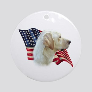 Yellow Lab Flag Ornament (Round)