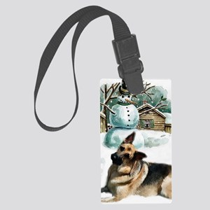 gsd snowman Large Luggage Tag