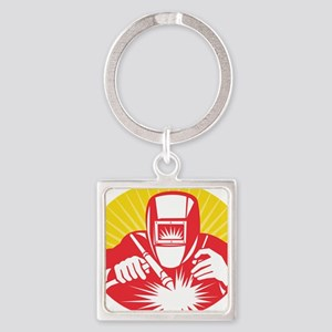 welder welding worker holding up e Square Keychain