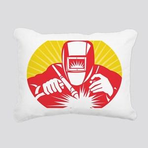 welder welding worker ho Rectangular Canvas Pillow