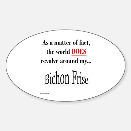 Bichon Frise World Oval Decal