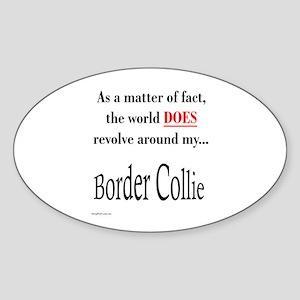Border Collie World Oval Sticker