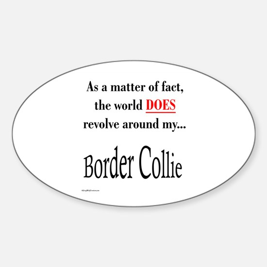 Border Collie World Oval Decal