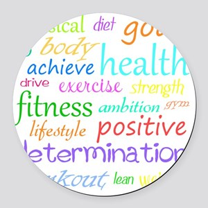 fitness words Round Car Magnet