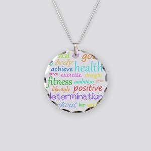fitness words Necklace Circle Charm