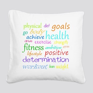 fitness words Square Canvas Pillow