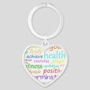 fitness words Heart Keychain
