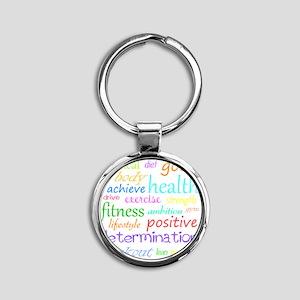 fitness words Round Keychain