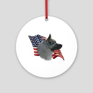 Elkhound Flag Ornament (Round)