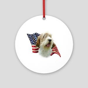 PBGV Flag Ornament (Round)