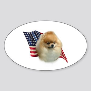 Pomeranian Flag Oval Sticker