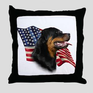 Rottweiler Flag Throw Pillow