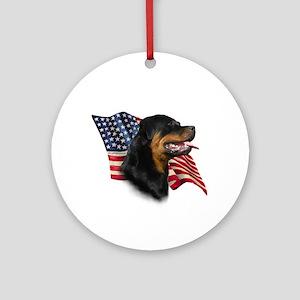 Rottweiler Flag Ornament (Round)