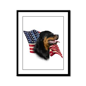 Rottweiler Flag Framed Panel Print
