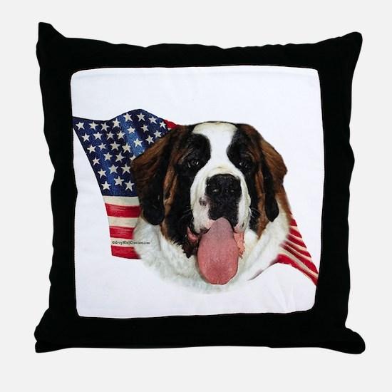 Saint Bernard Flag Throw Pillow