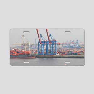 View of the Elbe River port Aluminum License Plate