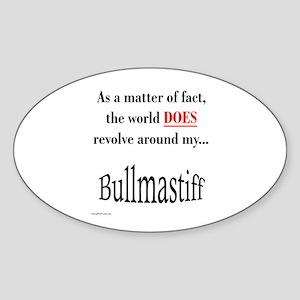 Bullmastiff World Oval Sticker