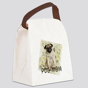 pug mom on background Canvas Lunch Bag