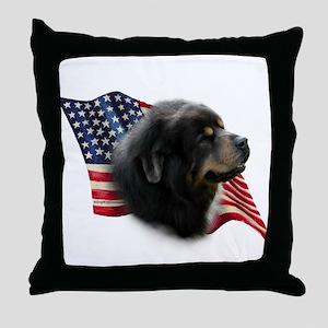 Tibetan Mastiff Flag Throw Pillow