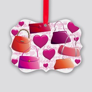 558 I Love Handbags for Cafe Pres Picture Ornament