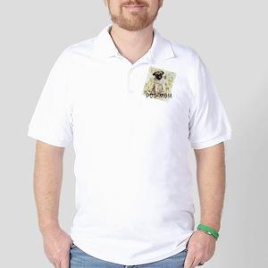 pug mom on background Golf Shirt