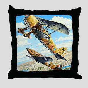 World War II Fiat CR.42 biplane Throw Pillow