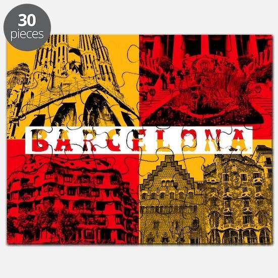 Barcelona_10x10_apparel_AntoniGaudí_RedYel Puzzle