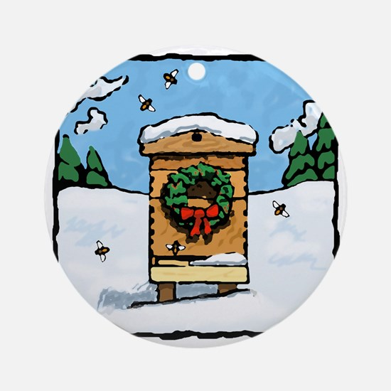 Christmas Bees Round Ornament