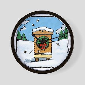 Christmas Bees Wall Clock