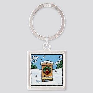 Christmas Bees Square Keychain