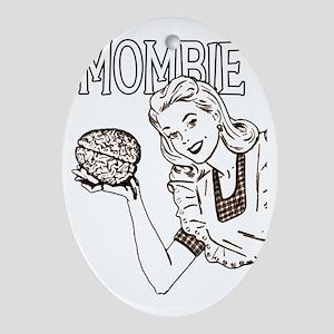Mombie Retro Zombie Clr Oval Ornament
