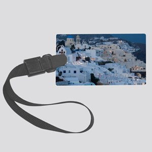Oia. Villas on cliffside in even Large Luggage Tag