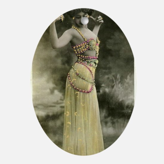 Lunagirl vintage bellydancer yellow Oval Ornament