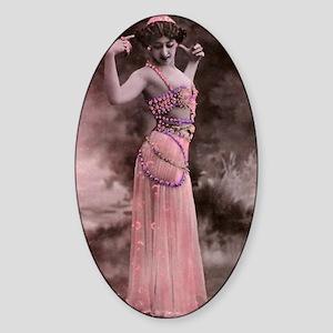 Lunagirl vintage bellydancing pink/ Sticker (Oval)