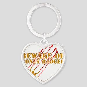 Beware of honey badger Heart Keychain