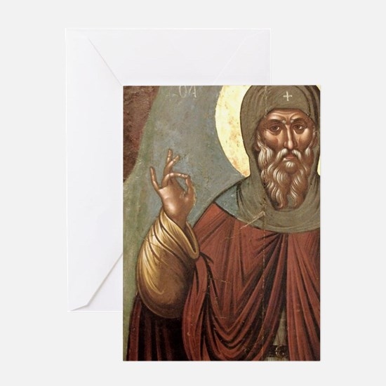 Byzantine icon of St. Anthony. It co Greeting Card