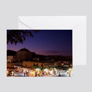 Greece. Rhodes. Ippocratous Square a Greeting Card