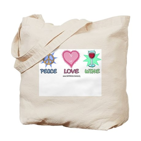 Peace Love & Wine Tote Bag