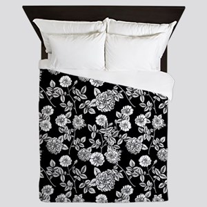 Black | White Vintage Floral Pattern Queen Duvet