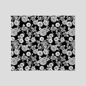 Black   White Vintage Floral Pattern Throw Blanket