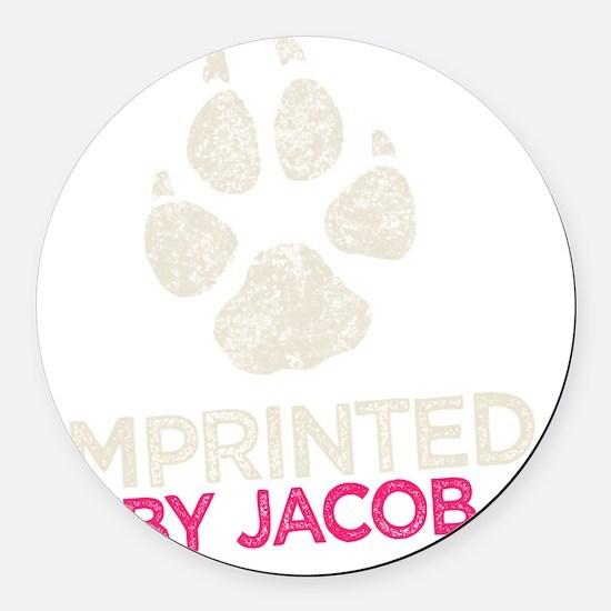 Imprinted Pink -dk Round Car Magnet