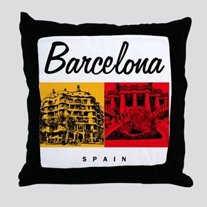Barcelona_7x7_Bag_CasaMila_ParcGuell Throw Pillow