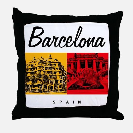 Barcelona_7x7_Bag_CasaMila_ParcGuell Throw Pillow