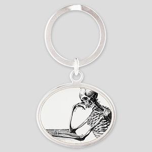 Skeleton Thinker Oval Keychain