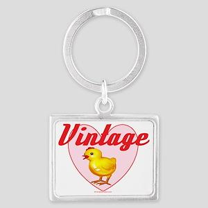 vintage chick  big Landscape Keychain
